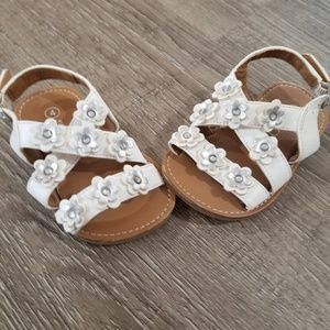 Baby size 4 white and silver sandals